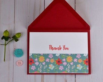 Thank You Note Cards - Folded Card Set - Stationary - Set of 4
