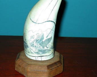 SPERM WHALE Tooth Faux (resin) Scrimshaw Museum Quality from GH Cook Company, Wash.