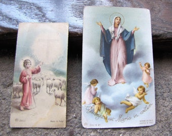 Two 1950s Prayer Cards Made In Italy - Virgin Mary and Angels and Young Shepherd with Cross