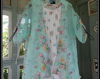 Free Domestic Shipping-FAYE- One size,Boho Robe,Chiffon,Shawl,Boho Kimono,Bed Jacket,3/4 length sleeve,floral print.Nightgown not included.