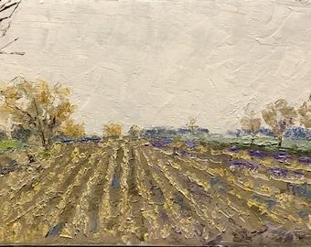 "Original Impressionist Oil Landscape 8x16 ""Rows"""