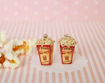 Pop Corn Earrings - Carnival Jewelry - Carnival Food Earrings - Popcorn jewelry - Retro Nostalgy Earrings -  Dollhouse Carnival Food -