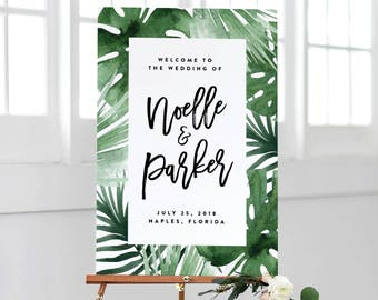Tropics in White Wedding Day Large Welcome Display Sign