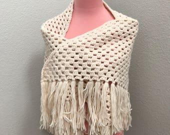 Cream hand woven 70s Grandma shawl
