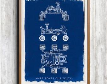 Mars Rover Curiosity A4 Hand coated traditionally made cyanotype blueprint