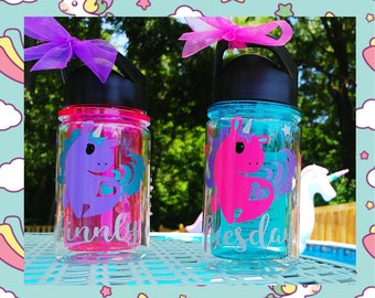 Unicorn Water Bottle Personalized Name/Kids Fun Water Bottle/10 oz./Water Reminder/Sports style Bottle with flip-up sipper straw lid/Gift