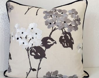 Black linen cushion cover, EMBROIDERED floral design pillow, silver grey cushion, white linen pillow, embroidered cushion, MoGirl DESIGNS