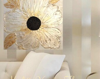 Large Original Modern palette knife signature floral impasto oil painting Metallics,champagne,pearl,whites by Nicolette Vaughan Horner