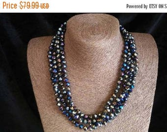 ON SALE Vintage Long Necklace - Black Iridescent Crystal Glass Flapper Jewelry - 78 Inches - High End Estate Jewelry