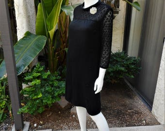 Vintage 1960's Black Knit Dress - Size 10