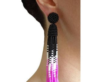 ON SALE Ombre Black/White/Pink beaded tassel Earrings with Clip ons or sterling SILVER stud /Choose your length: 3, 4 or 5 inches