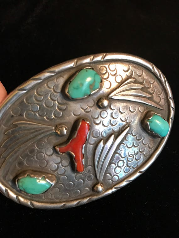 Sterling Turquoise Coral Belt Buckle Vintage - unsigned