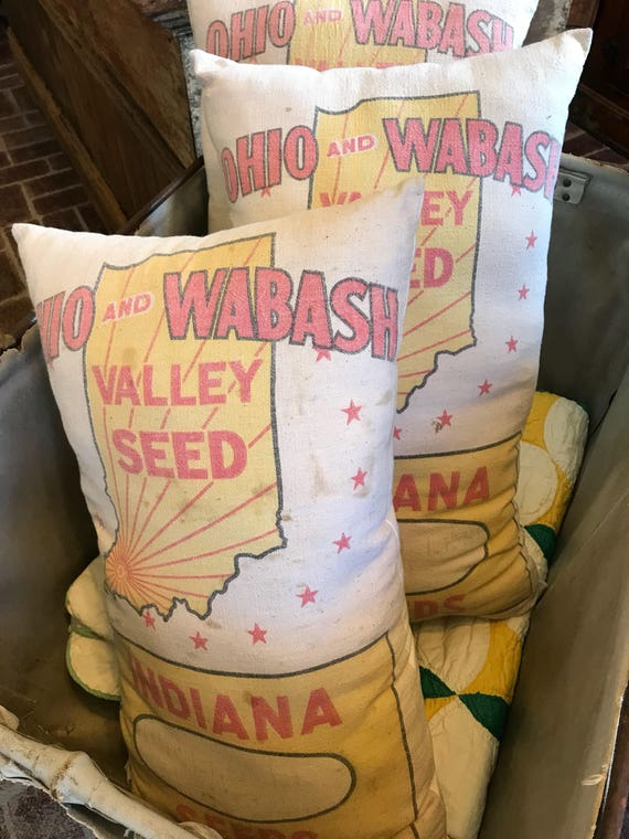 Original vintage Indiana Feedsack or Seedsack Pillow