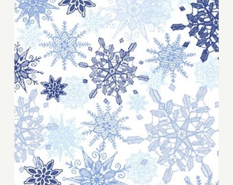 12% off thru July WINTER FROST-by the half yard by Qt fabrics- blue snowflakes on white-24459-b- Christmas