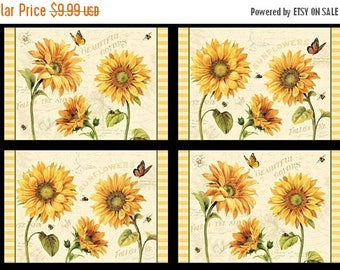 20 % off thru 8/20 FOLLOW THE SUN- makes set of 4 placemats- by Wilmington Fabrics- 24 by 44 inches- gold Sunflowers bees butterflies