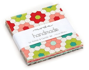"15% off thru Mar.19th HANDMADE Moda Charm pack from  Bonnie & Camille 42 5"" squares cotton fabric floral 55140PP"