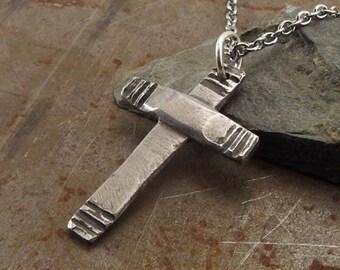 Modern Christian Cross Sterling Silver Pendant Necklace Handmade Jewelry For Men or Women