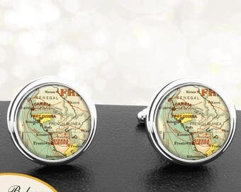 Antique Map Cufflinks Gambia Sierra Leone Africa Cuff Links for Groomsmen Groom Fiance Anniversary Wedding Fathers Dads Men