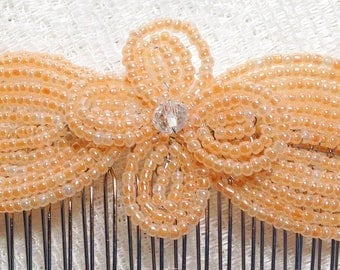 Peach Pearl Crystal Fascinator - French Beaded Barrette Clasp Clip Hair Comb - Pearl Collection CLO