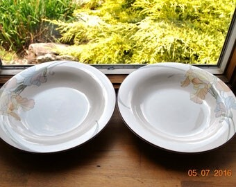 Noritake Cafe Du Jour Tan Band Peach, Blue and Yellow Flowers 2  Rim Soup or Salad Bowl