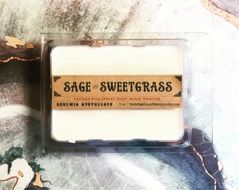Sage & Sweetgrass Soy Wax Melts-sage wax tarts-sweetgrass-sage wax melts-sweetgrass wax melts