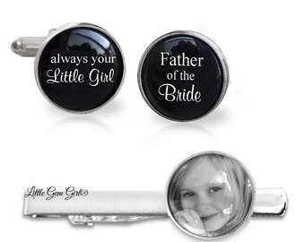 Father of the Bride Tie Clip and Cufflinks - Custom Photo Tie Bar and Cuff Links - Personalized Picture - Silver Plated Gifts for Dad