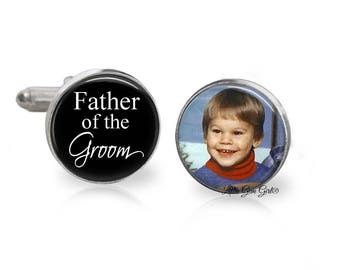 Father of the Groom Custom Photo Cuff Links - Personalized Wedding Picture Cufflinks - Dad Keepsake Gift - Sterling Silver or Stainless