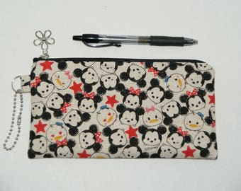 """Padded Zipper Pouch / Pencil Case / Cosmetic Bag Made with Japanese Fabric """"Tsum Tsum Cotton Linen #3"""""""