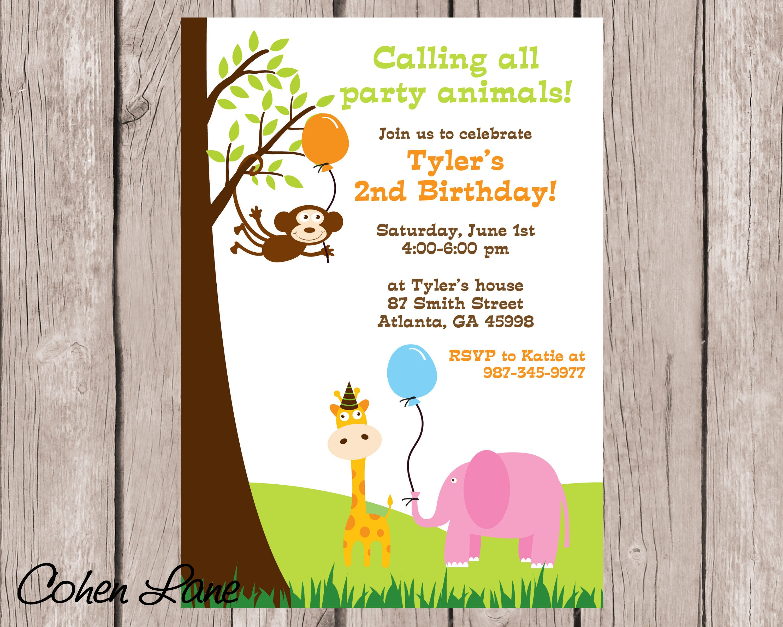 Jungle Birthday Invite. Jungle Invitation. Jungle Baby
