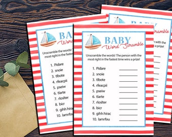 Nautical Word Scramble Shower Games-DIGITAL INVITATION-Printable Invite Card - Ahoy Ocean Sailboat  Shower Game