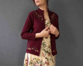 Vintage 80s Cranberry Burgundy Beaded Embroidered Zip Up Cardigan