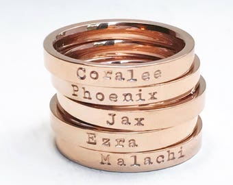 Rose Gold Stacking Rings Personalized Name Ring Band Stacker Custom Mom Jewelry Gift for Her