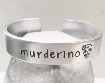 Murderino Bracelet My Favorite Murder Cuff Silver Adjustable Skull Gift for Her MFM Fan
