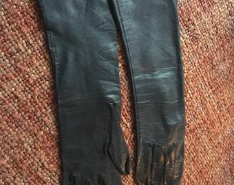 Dark Brown Long Vintage Leather Gloves Size Medium