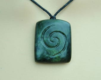 Greenstone/Pounamu ~ rectangular shape New Zealand greenstone with koru engraving.