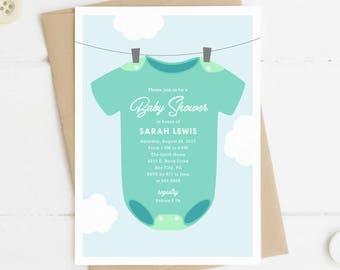 Printable Baby Shower Invitation, Baby Clothesline Invite