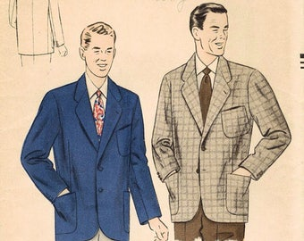 UNCUT 1950's Vogue 6898 Men's size 42 Sports Jacket Sewing Pattern