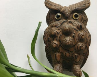 Vintage Cryptomeria Wooden Knotty Owl Figurine 1960s