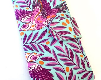 Women's Wallet, Fabric Clutch, Vegan Wallet, Birds, Aqua and Lavender