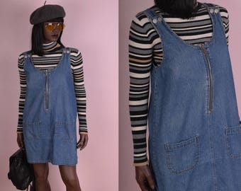 90s Denim Jumper Dress/ Small/ 1990s/ Zip Up/ Overall