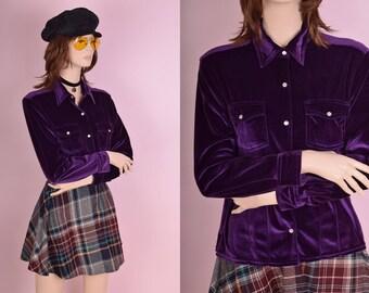 90s Purple Velvet Like Shirt/ Medium/ 1990s/ Button Down/ Long Sleeve