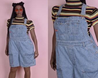 90s Denim Overalls/ US 14/ 1990s/ Shorts/ Shorteralls