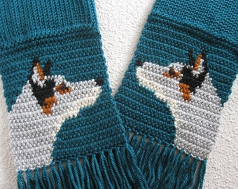 Australian Cattle Dog. Teal crochet scarf with blue heeler dogs. Knit dog scarf. Cattle dog gift