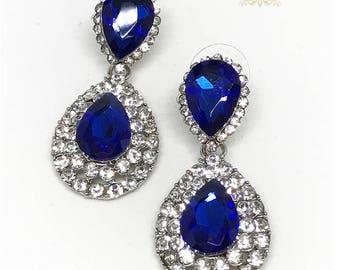 Sapphire Wedding earrings, Royal blue crystal earrings, Bridal jewelry, Bridal earrings, Wedding jewelry, bridesmaid Teardrop earrings
