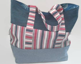 Large Red White and Blue Beach Bag,  Overnight Bag, Upcycled Denim, Sustainable Tote Bag