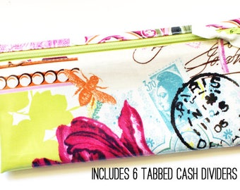 Cash budget envelope system wallet with 6 tabbed dividers | French journal laminated cotton in pink, aqua, green, cream