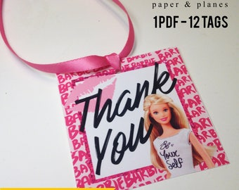 Barbie INSTANT DOWNLOAD Party Favor Tags - Printable Party Favor, Loot Bag Tags