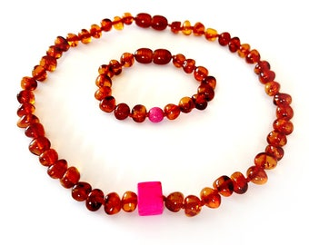NATURAL BALTIC AMBER Baby Teething Necklace and Bracelet with Pink Beads