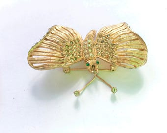 Philip Hulitar Rhinestone Butterfly Brooch Signed Figural Fashion Vintage Jewelry