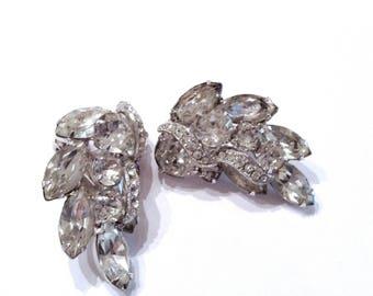 Eisenberg Rhinestone Cluster Ear Climber Earrings Retro Designer Fashion Bridal Jewelry